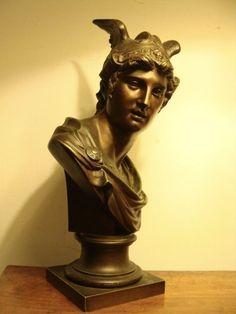 Mythologische Bronze Figur Büste Götterbote Hermes Merkur um 1970