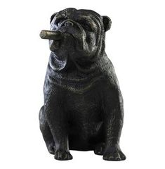 Oh we love it when things get a little 'ruff' - like this adorable cast metal bulldog, chomping on a cigar.  Whimsical and with a vintage finish, this is a great piece for rustic and vintage inspired spaces where humor and four legged friends are celebrated.