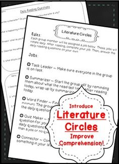 As a way to vary instruction, I incorporated literature circles into my grade classroom. The jobs and daily reading questions hold them accountable for remaining on task and can be applied to any chapter of any text! 7th Grade Ela, Teaching 5th Grade, Third Grade Reading, Sixth Grade, Fourth Grade, Second Grade, Reading Binder, Reading Room, Common Core Reading