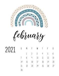 February Calendar, Cute Calendar, Print Calendar, Printable Calendar Template, Kids Calendar, Calendar Design, 2021 Calendar, Free Printables, Calendar Wallpaper