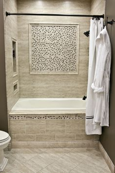 Ceramic Wall Tile Mixed With A Stone And Glass Mosaic Bath Tub Bathroom  Remodel Ideas