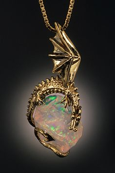 Crystal Ice Dragon with Mexican Fire Opal - SOLD