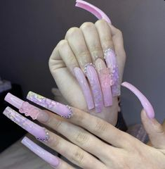 Acrylic Nails Coffin Pink, Long Square Acrylic Nails, Drip Nails, Acylic Nails, Glamour Nails, Exotic Nails, Claw Nails, Girls Nails, Luxury Nails