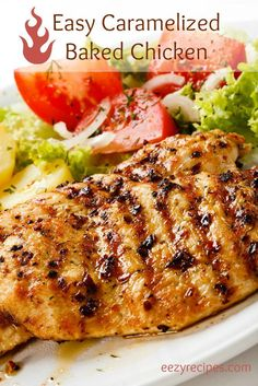 Easy Caramelized Baked Chicken 6 Large Chicken Fillets 2 Tablespoons Olive Oil Cup Soy Sauce 2 Tablespoons Ketchup 1 Cup Honey 1 Clove Garlic