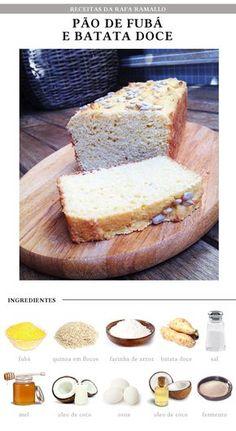 Ingredientes: - 1 xícara de fubá (dê preferência ao orgânico) - ½ xícara de quinoa em flocos - ½ xícara de farinha de arroz - 1 xícara de purê de batata doce amassada (tipo purê) - ½ colher de chá de sal - 2 colheres de sopa de mel - 1/2 de leite de coco (ou água morna) - 2 ovos (dê preferência aos orgânicos) - 3 colheres de sopa de óleo de coco ou azeite extra virgem - 1 sachê de fermento para pão (Granulado. Você encontra em qualquer supermercado)