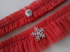 Red Snowflake Garter Set Rhinestone Tulle Wedding by Allofyou