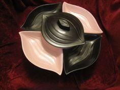 1960's usa art pottery chip & dip lazy susan set pink & black w/revolving tray