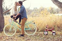 Cute pregnancy announcement. Love the bicycle and tricycle. So adorable.