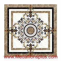 "Canvas Square , 48"" Waterjet Stone Floor Inlay - MedallionsPlus.com - Floor Medallions on Sale. Tile, Mosaic, & Stone Inlays."
