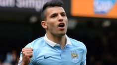 Manchester City's Argentinian striker Sergio Aguero celebrates after scoring their second goal from the penalty spot during the English Premier League football match between Manchester City and Stoke at the Etihad Stadium in Manchester, north west England, on April 23, 2016. / AFP PHOTO / OLI SCARFF / RESTRICTED TO EDITORIAL USE. No use with unauthorized audio, video, data, fixture lists, club/league logos or 'live' services. Online in-match use limited to 75 images, no video emulation. No…