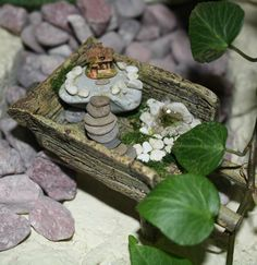 "What if your fairy garden in a wheelbarrow had a fairy garden in a wheelbarrow in it! The fairy house in this picture is 5/8""H."