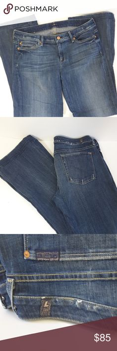 7 for all mankind wide leg jeans 7 for all mankind jeans. Used in great condition. size 30. made of cotton and spandex. see picture for measurements. 7 For All Mankind Jeans Flare & Wide Leg