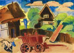 Karl Schmidt-Rottluff, Landschaft mit Karren, 1923 - 1925
