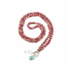EMOTIONAL HEALING Rhodonite Mala Bead Necklace Yoga and | Etsy Semi Precious Beads, Semi Precious Gemstones, Jewelry Knots, Boho Jewelry, Silver Beads, Silver Charms, Beaded Necklace, Necklaces, Bracelet Sizes