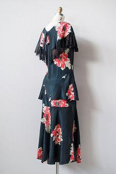 vintage 1920-х годов темно-цветочный шелковый креп платье рябить