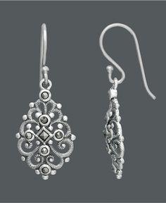 Genevieve & Grace Sterling Silver Earrings, Marcasite Filigree Teardrop Earrings - Macy's