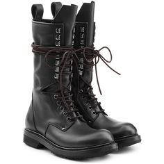 Rick Owens Leather Combat Boots ($1,390) ❤ liked on Polyvore featuring shoes, boots, ankle booties, black, combat booties, black military boots, black booties, real leather combat boots and leather booties