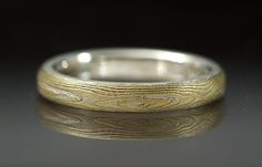 Sterling silver and 18k yellow gold mokume gane etched ring