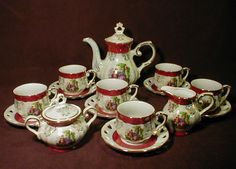 ... Victorian With Courting Couple Fine Porcelain China Coffee / Tea Set