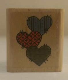 HEARTS 566A Stitchwork Patchwork Rare Vintage Penny Black Stamp #0106