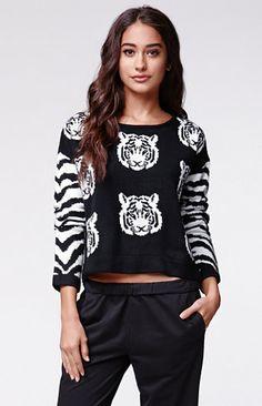 MinkPink Tiger Knit Jumper Sweater #pacsun