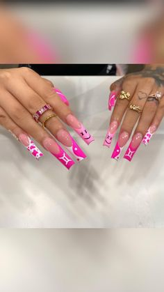 Acrylic Nails Coffin Pink, Long Square Acrylic Nails, Coffin Nails, Long Square Nails, Tapered Square Nails, Dope Nail Designs, Cute Acrylic Nail Designs, Coffin Nail Designs, Unique Nail Designs