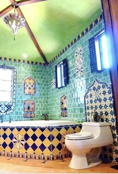 37 Popular Moroccan Bathroom Design Ideas You Will Love - The Moroccan approach to bathing takes the idea of bathroom design to another level. Communal bathing in neighbourhood hammams turned the concept of t. Spanish Bathroom, Spanish Style Bathrooms, Moroccan Bathroom, Spanish Style Homes, Moroccan Tiles, Master Bathroom, Bohemian Bathroom, Turkish Tiles, Spanish Revival