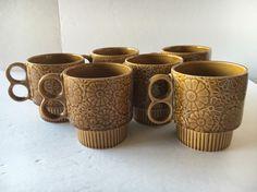 Vintage Stackable Coffee Cups Mugs Brown Flowers Made in Japan Lot of 6  | eBay
