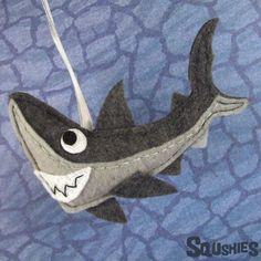 Felt Shark Ornament - Handmade Christmas Ornament - Squshies