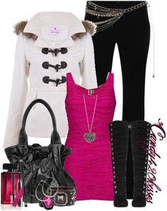 """pretty in pink"" by candy420kisses on Polyvore  BAHAH! This is the worst. ""it looks like the mall threw up on her."""
