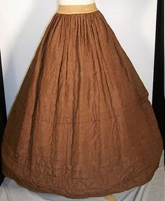 """Brown Silk Quilted Petticoat 1840's; wonderful blog, """"Stitches Through Time."""""""