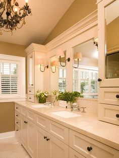 Traditional Master Bathroom with Undermount Sink, Flat panel cabinets, frameless showerdoor, Stone Tile, High ceiling, Flush
