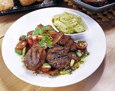 Spicy lamb cutlets with guacamole.  Might also be good with pork or veal.