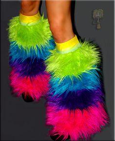 FLUFFY FURRY Fancy Dress Costume Cosplay Dance Rainbow Punk Leg Warmers Cover