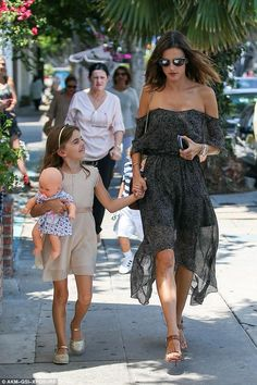 Alessandra Ambrosio wearing Christian Louboutin Sova Sandal and Camilla and Marc Saki Dress