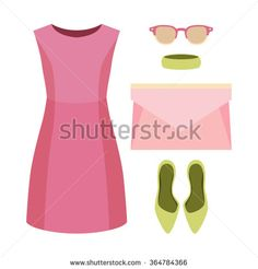 Set of trendy women's clothes. Outfit of woman dress and accessories. Women's wardrobe. Vector illustration