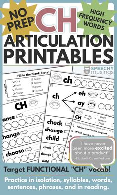No Prep Articulation Printables Using Functional, High Frequency Words for CH Articulation Therapy, Articulation Activities, Speech Therapy Activities, Listening Activities, Speech Language Pathology, Speech And Language, Ch Words, Phonological Processes, French Language Learning