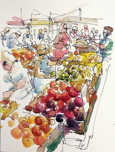 Peaches at the Farmers Market by suhita1, via Flickr --Love these Urban Sketchers!