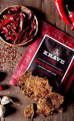 Garlic Chili Pepper Krave Jerky-- This is nice packaging for a jerky product IMO. Spices Packaging, Food Packaging Design, Krave Jerky, Pork Jerky, Gourmet Recipes, Beef Recipes, Recipies, Creative Food, Food Photography
