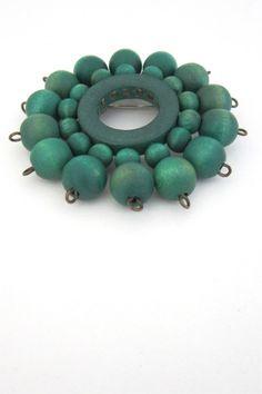 aarikka, Finland - vintage green pinwheel brooch