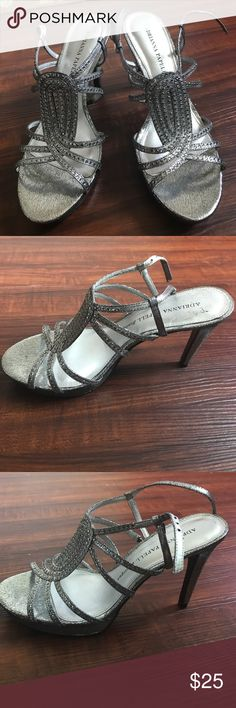 "Size 7 Silver sequin Adriana Papell heels Adriana Papell Boutique. Sparkling silver 4"" heels, worn 1-2 times and in great condition! Size 7. Adrianna Papell Shoes Heels"