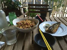 Fried rice with grill mackerel