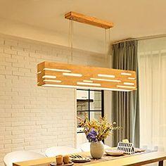 LED Pendelleuchte Holz Esstischlampe Pendellampe Höhenverstellbar  Hängelampe Kronleuchter Hängeleuchte Esstisch Für Büro Esszimmer Wohnzimmer  Schlafzimmer (
