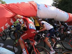 There were dramatic scenes for the GC riders as the flamme rouge banner deflated in front of them