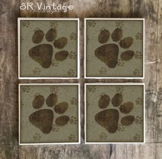 Dog Paw Print Coasters, Love For Dogs and Puppies Handmade Design, Ceramic Tiles, Table Beer Coasters, Coffee Coaster, Made to Order