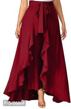 PJK COLLECTIONS Women' Ruffle Pants Split High Waist Maxi Long Crepe Palazzo Overlay Pant Skirt Trousers Women, Pants For Women, Women's Trousers, Western Wear For Women, Womens Maxi Skirts, Skirt Pants, Ruffle Pants, Pink Pants, Flare Skirt