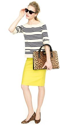 J. Crew, yellow pencil skirt, striped sweater, leopard satchel purse, sunglasses, leopard wedges