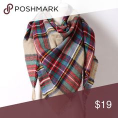 Tartan plaid print large triangle scarf Beautiful trendy print! This is a medium weight scarf n a large triangle shape (perfect for draping like on the picture as shown). Looks beautiful with a neutral sweater and burgundy leggings! Happy fall 😍🍁🍂 Accessories Scarves & Wraps