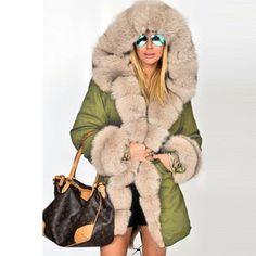 Plus Size Women Winter Jacket Coat Hooded Overcoat Cotton Coat Women Faux Fur Coat Warm Parka Women's Thick Furs Military Coat – fashion Fur Collars, Faux Fur Collar, Parka Coat, Fur Coat, Hooded Parka, Casual Coats For Women, Mode Mantel, Hooded Winter Coat, Stylish Clothes