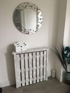 Small Handmade Pallet Radiator Covers Made to Order Storage Heater Covers, Wall Heater Cover, Diy Radiator Cover, Radiator Shelf, Rustic Hallway Table, Rustic Table, Wall Radiators, Narrow Console Table, Hallway Inspiration